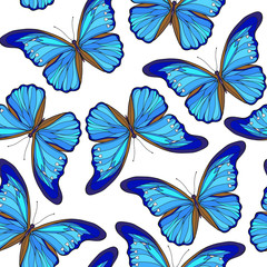 Butterflies. Colorful seamless pattern, background.  Stock line vector illustration