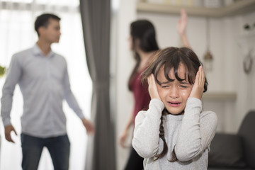 The girl was crying because parents quarrel