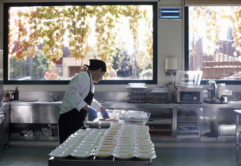 Chef preparing dishes for a  feast in a restaurant kitchen