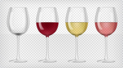 Set of realistic transparent wine glasses
