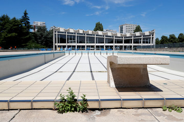 General view of the Marville outdoor swimming pool in Saint-Denis which is part of the Marville sports complex,