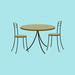 Icon in flat design Chairs and table