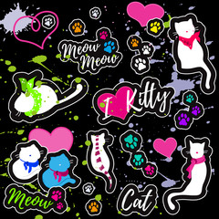 """Colorful patches with cats, hearts, cat's footprints, inscriptions """"I love kitty"""", """"Meow Meow"""", """"Cat"""".  Vector illustration."""