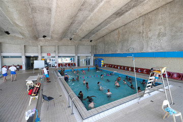 General view of the Marville indoor swimming pool in Saint-Denis which is part of the Marville sports complex