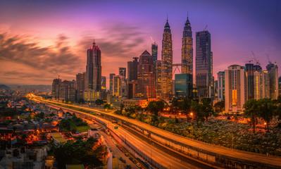 Fotobehang Kuala Lumpur Cityscape of Kuala lumpur city skyline at sunrise in Malaysia.