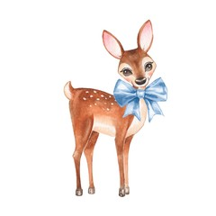 Baby Deer. Hand drawn cute fawn. Watercolor illustration