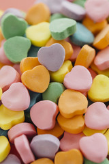 Heart shaped candy in assorted colors