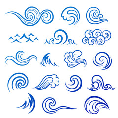 Vector Set of isolated wave icons