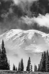 Mount Rainier in black and white