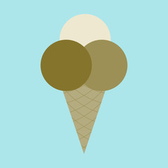 Icon in flat design for restaurant Ice cream balls