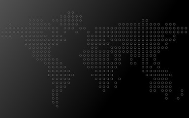 Abstract world map of dots. Vector background