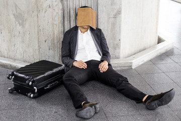 Businessman with stress situation for money, Businessman have no money unemployed and Bankrupt concept,