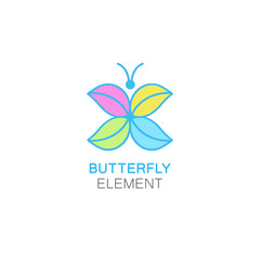 Vector logo design template in flat linear style - abstract butterfly with colorful wings.
