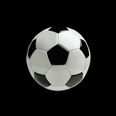 Realistic soccer ball or football ball on black background