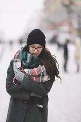 winter portrait on the street