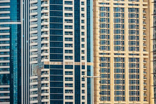 City buildings texture pattern. Dubai Marina, United Arab Emirates
