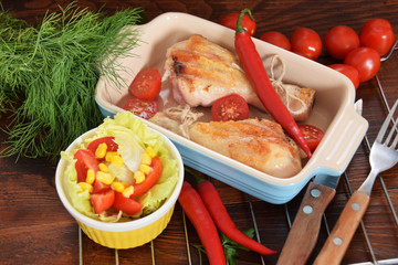 Grilled chicken on a colorful plate with peperoni tomatoes