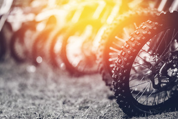 close-up wheel of an off-road motorcycle for a motocross through the mud. copyspace Fototapete