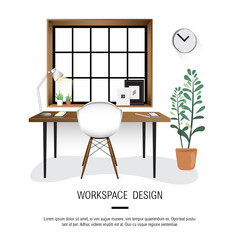 White Workspace InteriorMinimal White Workspace Interior Design Vector