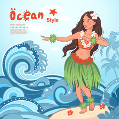 Retro style Hawaiian beautiful hula girl