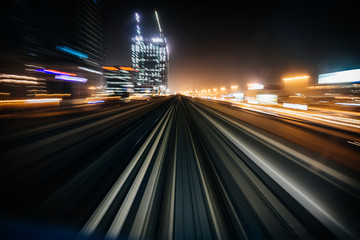 Speed and motion from fast train in Dubai
