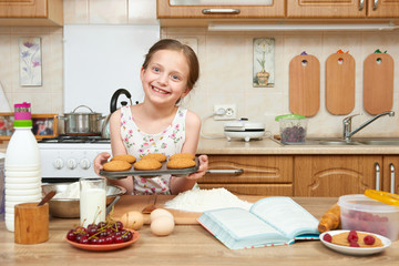 Girl baking cookies. Home kitchen interior. Healthy food concept
