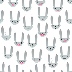 Seamless pattern with cute Easter bunny faces with happy and lovely emotions, hand-drawn gray rabbits with various expressions, EPS 10