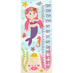 growth measure with mermaid - vector illustration, eps