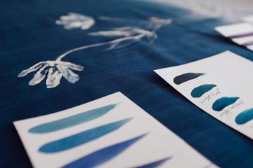 Blue Colour Samples For DIY Textile Painting