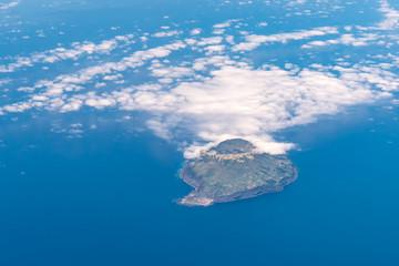 Aerial view from plane Corvo Island Portugal Atlantic Ocean