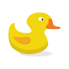 Vector illustration, icon. Yellow rubber duck toy, bath toy.