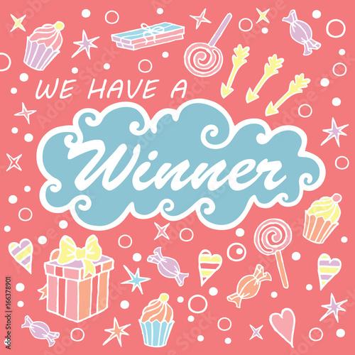 We have a winner giveaway banner for social media contests giveaway banner for social media contests squared pop background m4hsunfo