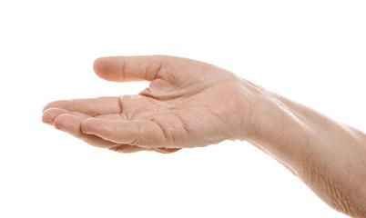 Senior woman's hand on white background
