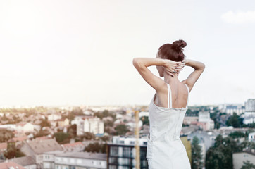woman looking city
