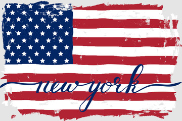 USA american flag grunge paint handwriting new york text vector. Each color and text are on the separate layer