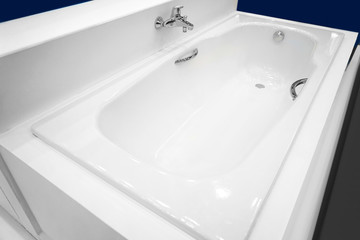 Modern new bathtub presented in store