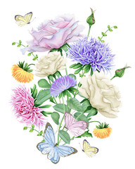 Watercolor Floral Bouquet with Butterflies