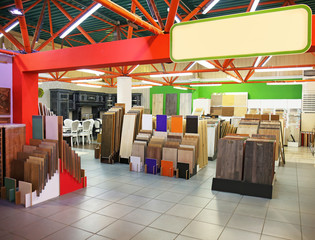 Assortment of laminated flooring samples in hardware store