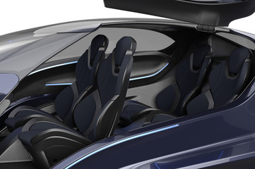 Car concept modern electric metal supercar, interior, close view. 3D rendering