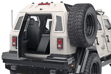 Suv automobile open doors, close view. 3D rendering