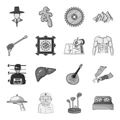 Spice, apiary, value, crime, organs and other web icon in monochrome style.Italy, art, restaurant icons in set collection.