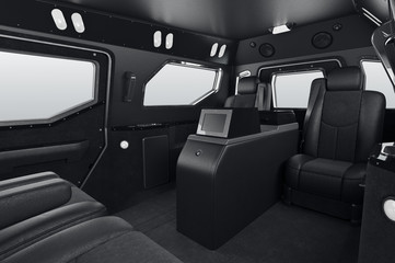Car interior black leather seat. 3D rendering