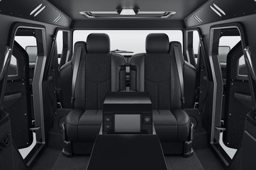 Car interior comfort black seats. 3D rendering