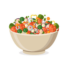 Cooking salad with fresh vegetables. Flat style. Vector illustration.