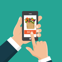 Hand ordering fresh food hold smartphone with food basket on the screen. Buy food online. Flat vector illustration.
