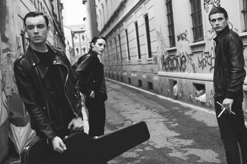 Punk rock band portrait in the street