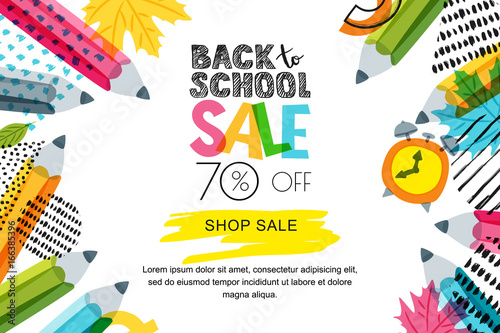 vector horizontal back to school sale banner poster background hand drawn sketch letters and. Black Bedroom Furniture Sets. Home Design Ideas