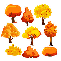 Vector illustration of bright colorful autumn trees and bushes set in flat cartoon style.