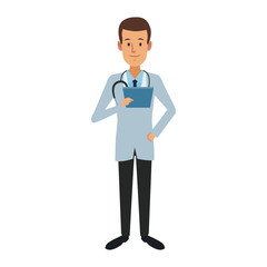 doctor medical staff standing holding clipboard and stethoscope