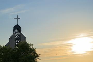The Catholic Church at sunset